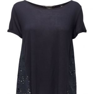 Maison Scotch Short Sleeve Tee With Embroidered Woven