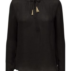 Maison Scotch Silky Feel Blouse With Contrast Neckline pitkähihainen pusero