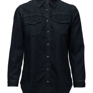 Maison Scotch Western Denim Shirt With A Dark Blue Enzyme Wash pitkähihainen paita