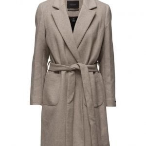 Maison Scotch Wrap Over Coat In Soft Wool Blend Qualit villakangastakki