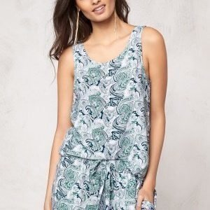 Make Way Billie Singlet Green / Blue / Paisley