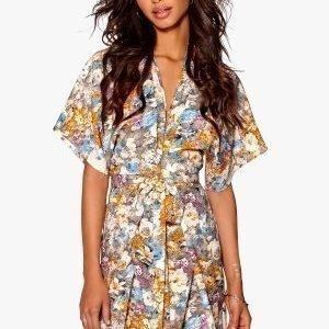 Make Way Karmen Kimono Dress Light grey / Orange / Multi colour / Floral