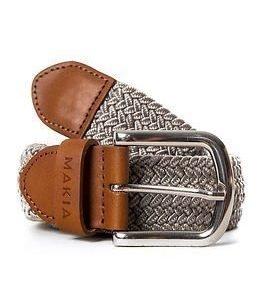 Makia Braided Canvas Belt Grey