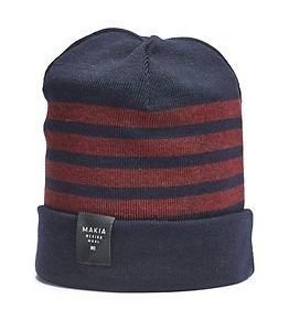 Makia Merino Stripe Cap Navy Burgundy