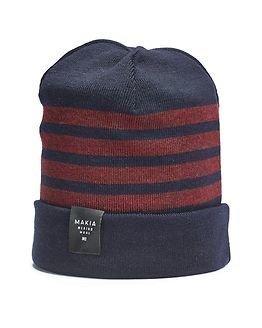 Makia Merino Stripe Cap Navy Burgundy