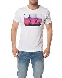 Makia Purple Crane T-Shirt White