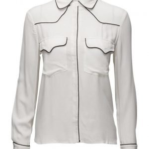 Mango Contrast Trim Shirt pitkähihainen paita