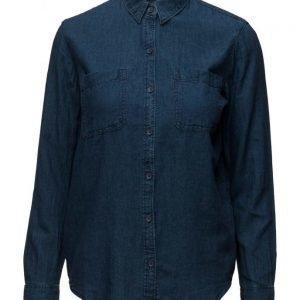 Mango Cotton Linen-Blend Shirt pitkähihainen paita
