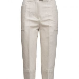 Mango Cropped Linen-Blend Trousers suorat housut