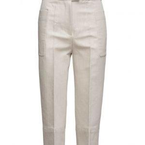 Mango Cropped Linen-Blend Trousers suorat housut