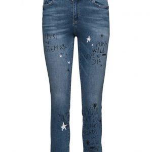 Mango Cropped Straight Graffiti Jeans suorat farkut