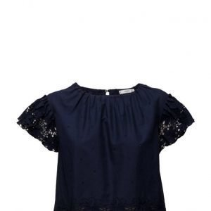 Mango Embroidered Blouse lyhythihainen pusero