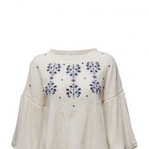 Mango Embroidered Cotton Blouse pitkähihainen pusero