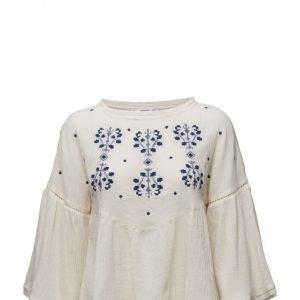 Mango Embroidered Cotton Blouse pitkähihainen pusero
