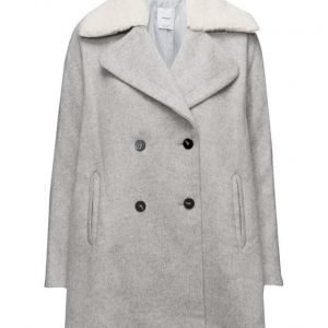 Mango Faux-Fur Appliqu Wool Coat villakangastakki