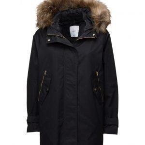 Mango Faux Fur Hood Coat parkatakki
