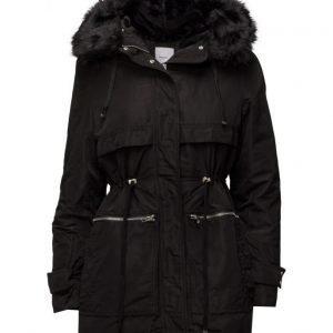 Mango Faux Fur Hood Coat untuvatakki