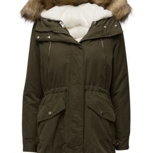 Mango Faux Fur Padded Coat parkatakki
