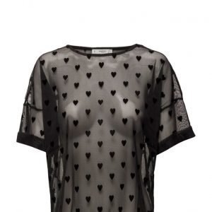 Mango Hearts Print Tulled T-Shirt lyhythihainen pusero