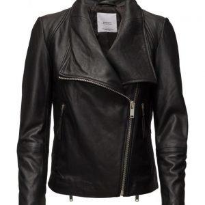 Mango Lapels Leather Jacket nahkatakki