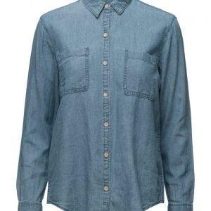 Mango Linen-Blend Denim Shirt pitkähihainen paita