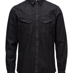 Mango Man Black Denim Shirt