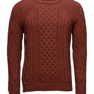 Mango Man Cable-Knit Wool-Blend Sweater pyöreäaukkoinen neule