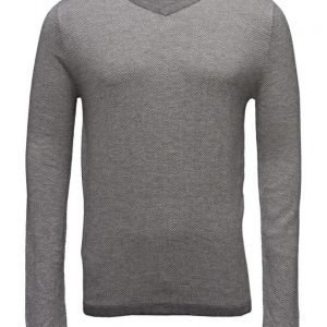Mango Man Herringbone Cotton Sweater v-aukkoinen neule