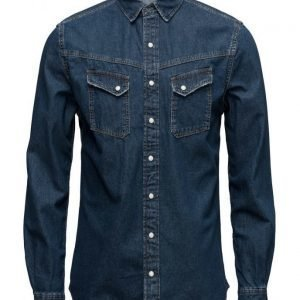Mango Man Slim-Fit Dark Wash Denim Shirt