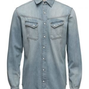 Mango Man Slim-Fit Light Denim Shirt