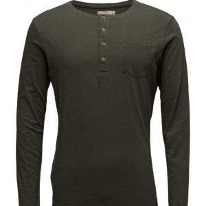 Mango Man Slub-Cotton Henley T-Shirt pitkähihainen t-paita