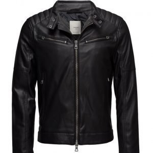 Mango Man Zipped Biker Jacket nahkatakki