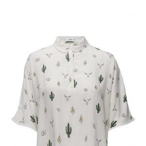 Mango Printed Flowy Shirt lyhythihainen pusero