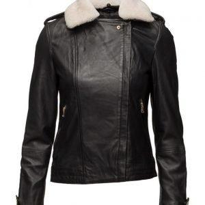 Mango Shearling-Lined Leather Jacket nahkatakki