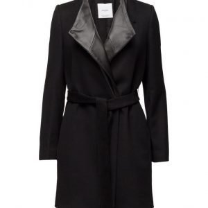 Mango Wool Leather Coat villakangastakki
