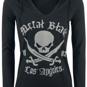 Metal Blade Pirate Logo Naisten Hupullinen Pitkähihainen Paita