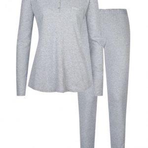 Mey Pyjama Meleerattu Vaaleanharmaa / Valkoinen