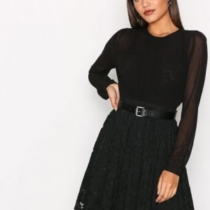 Michael Kors Pleated Lace Mix Dress Pitkähihainen Mekko Black