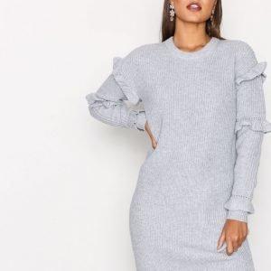 Michael Kors Rib Ruffle Dress Loose Fit Mekko Pearl
