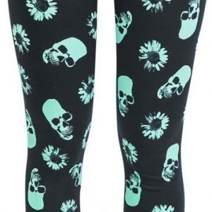 Midnight Hour Black & Mint Skull & Daisy Leggings Legginsit