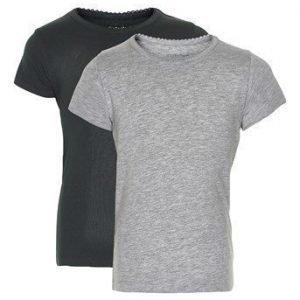 Minymo T-paita 2-Pakkaus Musta Mel. harmaa