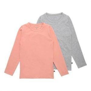 Minymo T-paita 2-Pakkaus Roosa Mel. harmaa