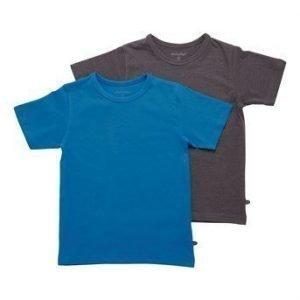 Minymo T-paita 2-Pakkaus Sininen Mel. tummanharmaa