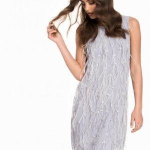 Miss Selfridge Emellished Feather Shift Dress Loose Fit Mekko Grey