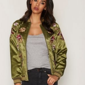 Miss Selfridge Floral Bomber Jacket Takki Dark Green