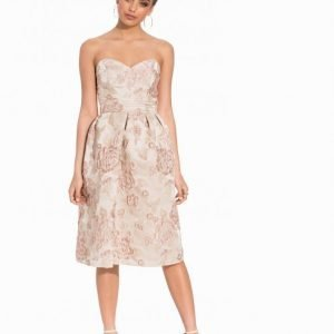 Miss Selfridge Floral Jacquard Midi Dress Juhlamekko Beige