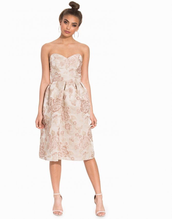 Miss Selfridge Floral Jacquard Midi Dress Juhlamekko Beige ... 9c2163d49d