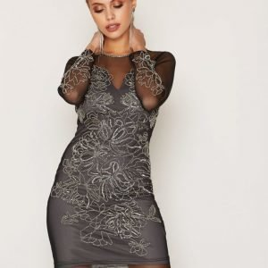 Miss Selfridge Flower Detail Bcon Dress Kotelomekko Black