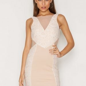 Miss Selfridge Lace Placement Bodycon Dress Kotelomekko Cream