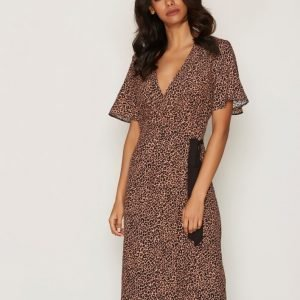 Miss Selfridge Print Wrap Midi Dress Loose Fit Mekko Multi